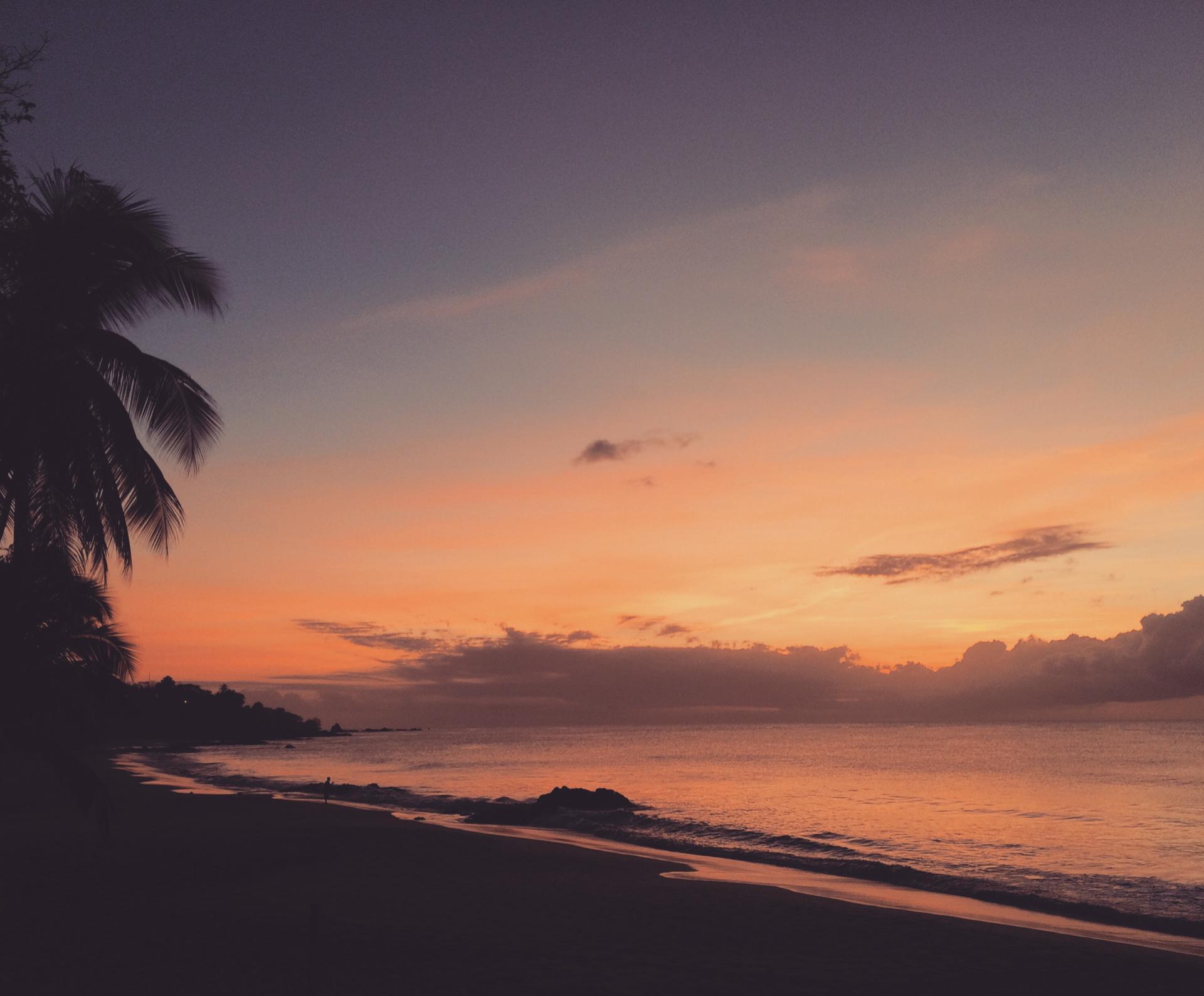 Sunset Grafton Beach Tobago Caribbean Sea