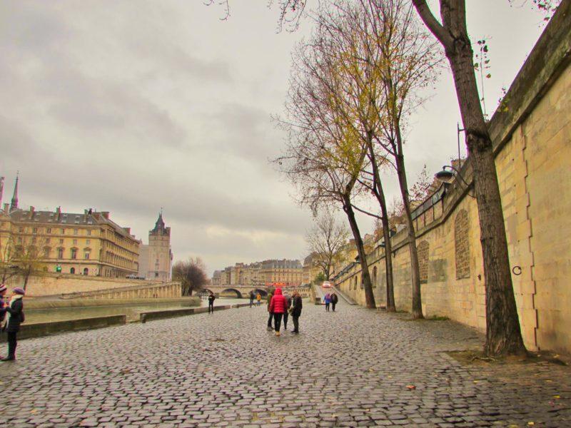 Seine river paris france cobbled street city europe