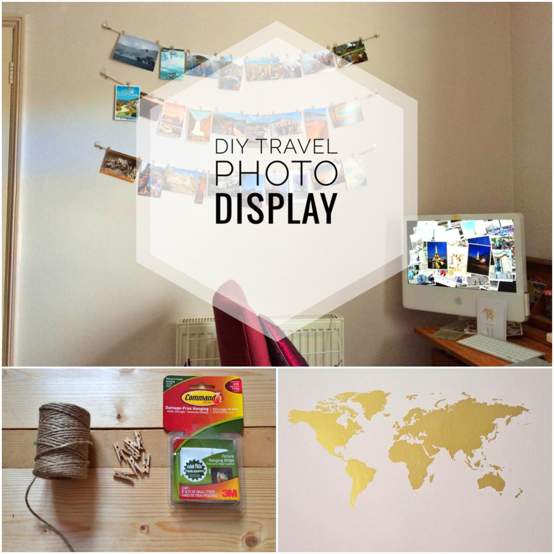 Diy hanging travel photo display yesihaveablog for Diy hanging picture display