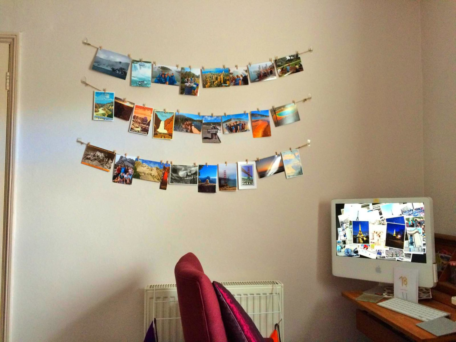 How to display travel photos   Yesihaveablog   DIY hanging photo display   Wanderlust  
