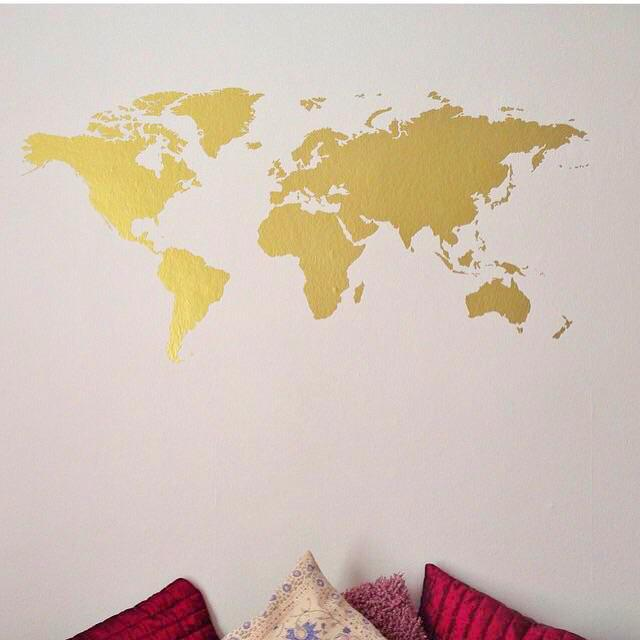 World Map Wall Art   Yesihaveablog   Wall Stickers & Decals   DIY Travel Photo Display